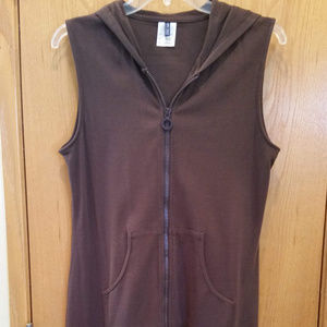 Anne Cole Brown Cotton Zip Swimsuit Cover w/Hood S